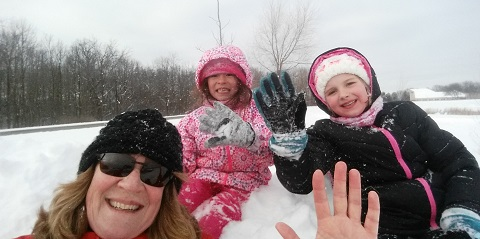 Sledding with Grand daughters