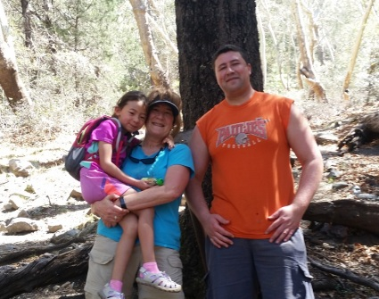 Andrew, Lola and Grandma in Madera Canyon, Tucson AZ