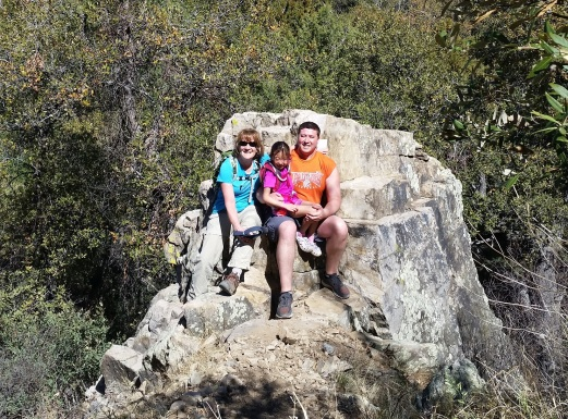 Andrew, Lola and Grandma in Madera Canyon