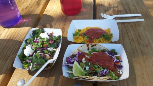 Organic tacos with goat cheese and greens, yum!