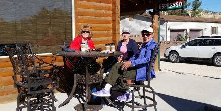 Patty, Kristin and Ginny enjoying coffee